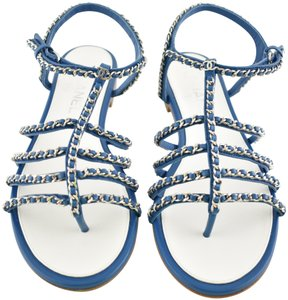 Chanel Slides Flat Chain Gladiator blue Sandals