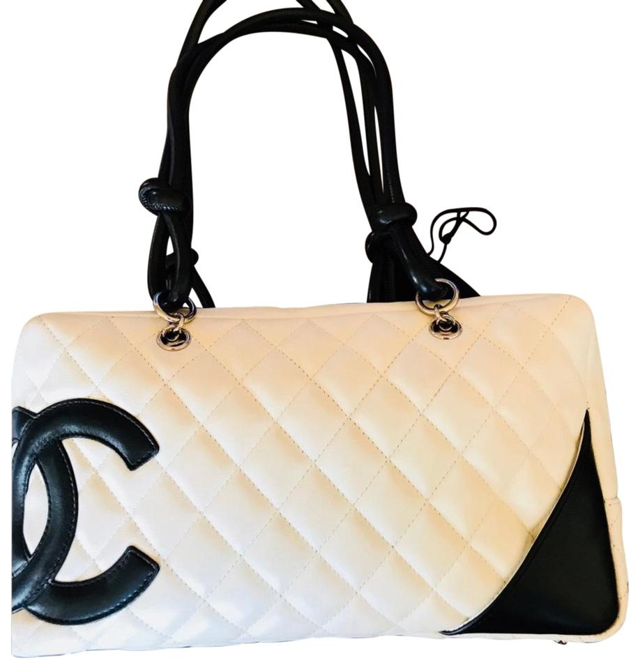 39193eced17fdd Chanel Cambon Ligne Bowler White with Black Trim Lambskin Leather ...