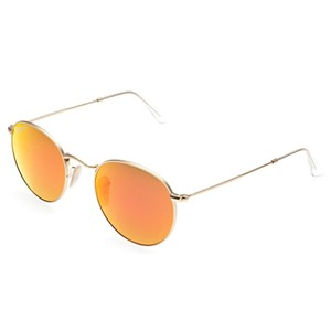Ray-Ban Ray-Ban Round Flash Lenses Sunglasses Gold/ Copper 50mm RB3447