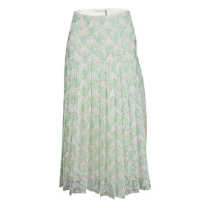 Christopher Kane Floral Lace Pleated Skirt Green
