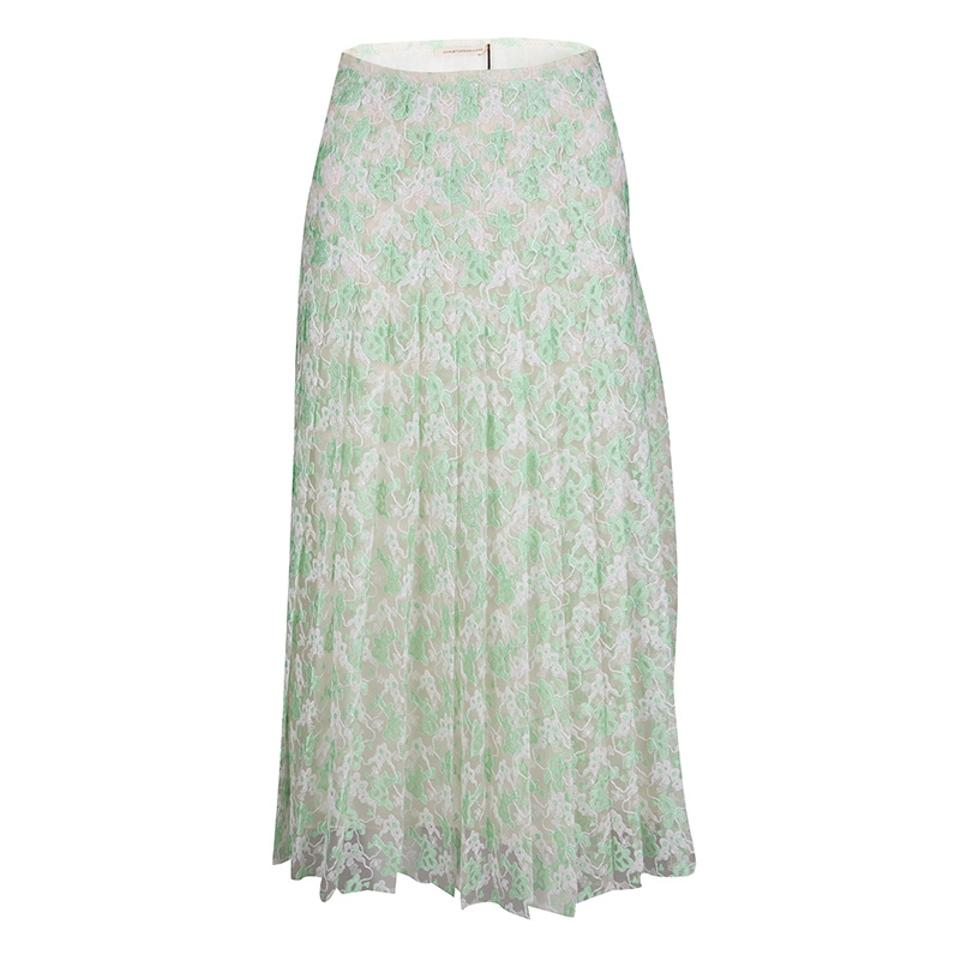 b9e3a7cc3 Christopher Kane Green Mint Plasma Floral Lace Pleated S Skirt. Size: 4 ...