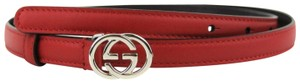 Gucci Gucci Women's Red Skinny Thin Belt with Silver Interlocking G Buckle 3