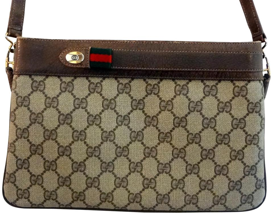 aa49f2c31f4f Gucci Vintage Cross Body/Designer Purses Shades Of Browns with Red/Green  Leather/Coated Canvas Shoulder Bag