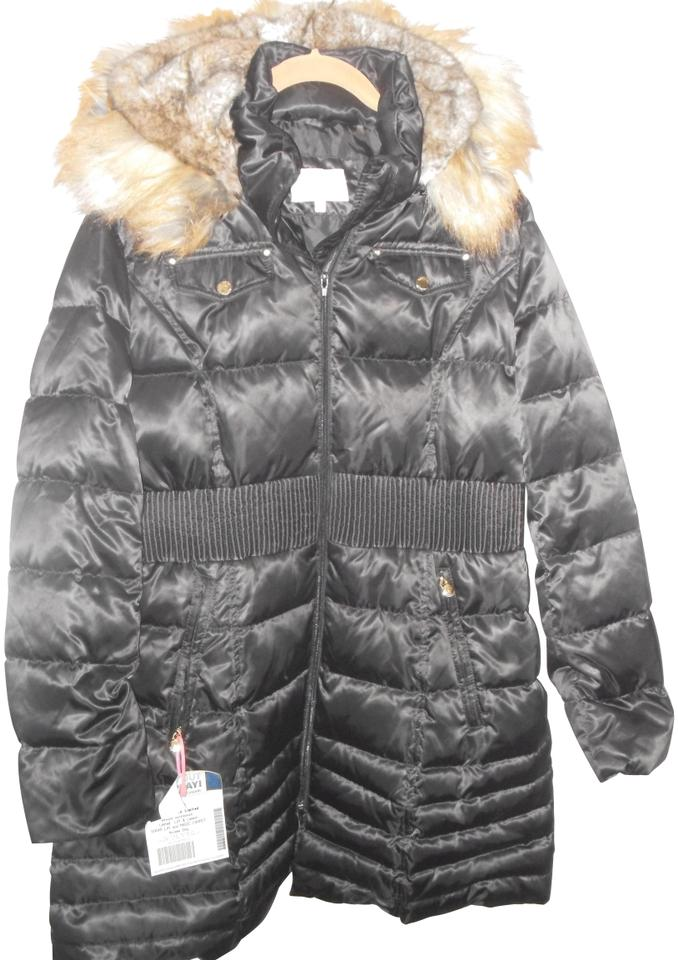 19bd662ee2e Laundry by Shelli Segal Black Fur Hood Quilted Fit   Flare Down Coat ...