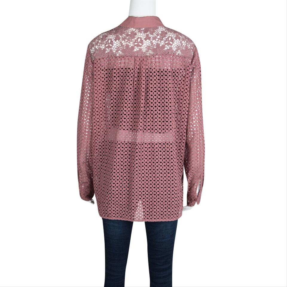 ff7430dc See by Chloé Pink Dusty Rose Floral and Eyelet Lace Long Sleeve ...