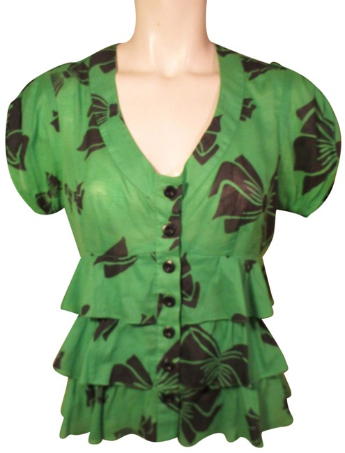 Item - Green & Black Ruffled Cotton Short Sleeve Button-down Top Size 4 (S)
