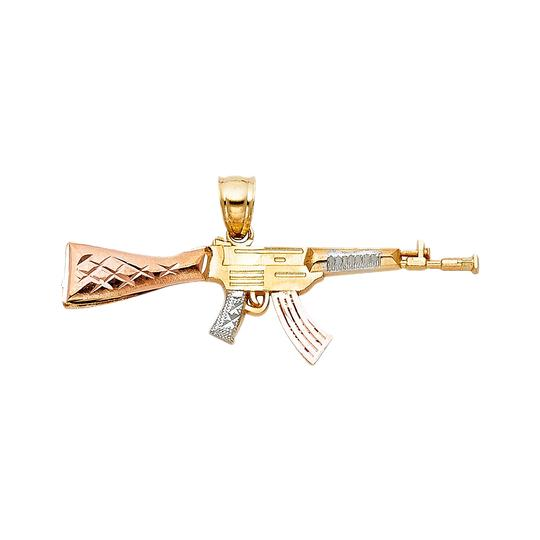 TD Collections 14K Tri Color Gold Rifle Gun Pendant