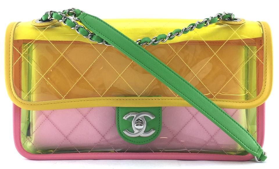5be6a6fbdc97 Chanel Classic Flap #21298 Extremely Rare See Through Shoulder Clear Splash  Translucent Yellow Green Pink Pvc Cross Body Bag