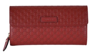 08b40da72117 Gucci New Gucci Women's 449364 Red Leather Micro GG Continental Wallet