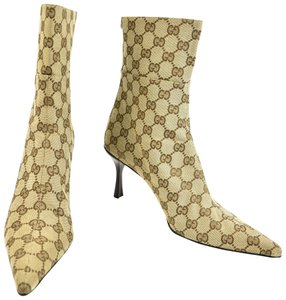 Gucci Leather Gg Beige Boots