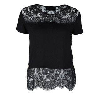 Philipp Plein Couture Jersey Scalloped Lace Sheer Top Black