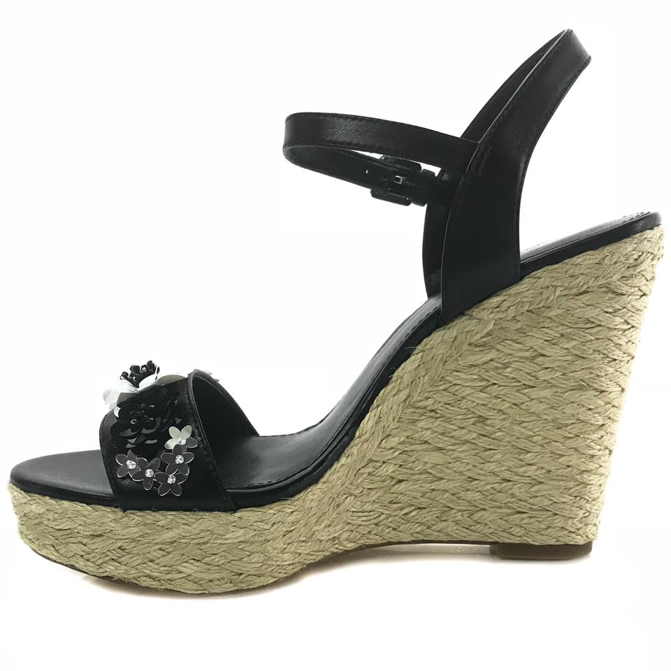 03760b5fac69 Michael Kors Black Jill Floral Sequined Leather Wedges Size US 9 ...
