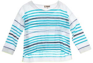 lemlem Striped Summer Linen Casual Top white turquoise lime