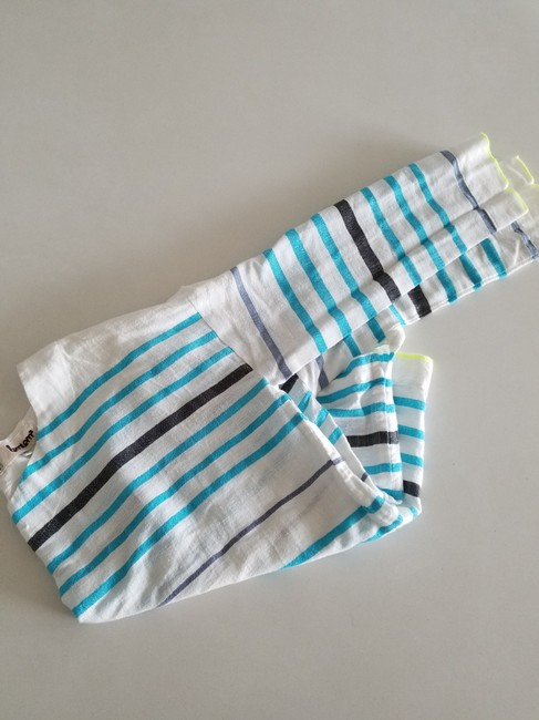 lemlem Striped Summer Linen Casual Top white turquoise lime Image 1