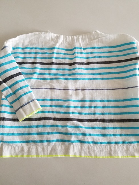 lemlem Striped Summer Linen Casual Top white turquoise lime Image 2