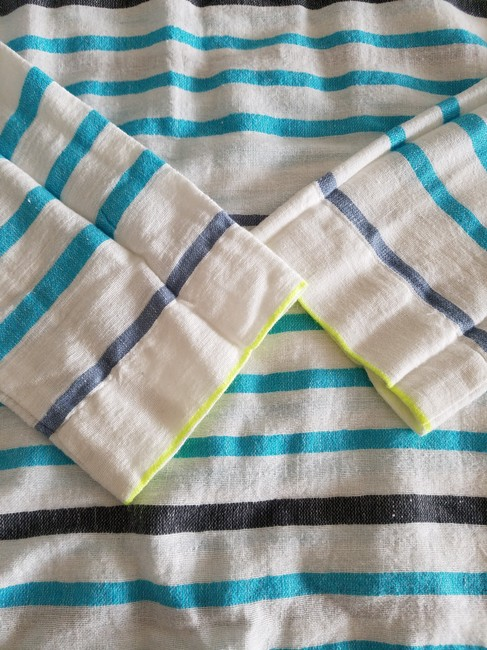 lemlem Striped Summer Linen Casual Top white turquoise lime Image 3