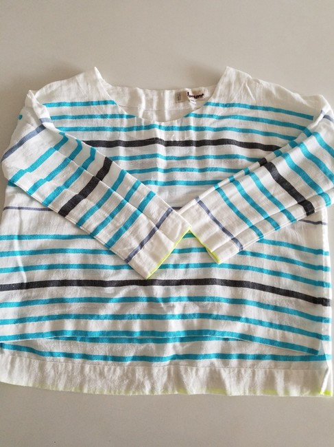 lemlem Striped Summer Linen Casual Top white turquoise lime Image 5