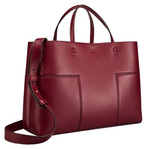 Tory Burch Block-t Shoulder Strap Large Tote in Burgundy