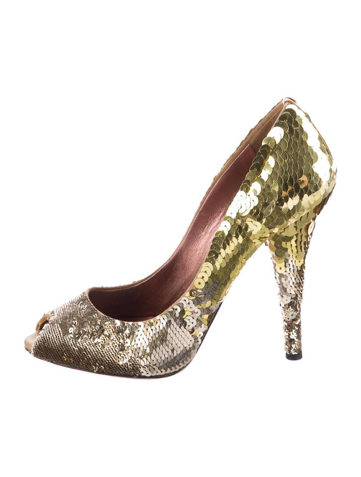 Miu Sandals Miu Gold Sequin Pumps Sandals Miu ec6a39