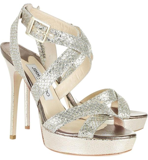 Jimmy Choo Silver Vamp Sandals Size EU 37 (Approx. US 7) Regular (M, B) Jimmy Choo Silver Vamp Sandals Size EU 37 (Approx. US 7) Regular (M, B) Image 1