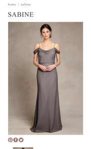 Jenny Yoo Grey Crepe De Chine Sabine Feminine Bridesmaid/Mob Dress Size 2 (XS)