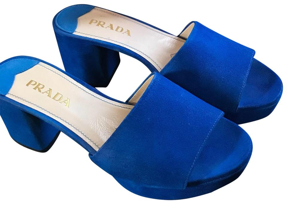 lady Mules/Slides Prada Blue Suede Chunky Mules/Slides lady Stylish and funny 06b89b