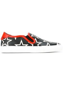Givenchy Slip On Embossed Insole Elasticated Sides Rear Knot Calf Leather black Athletic
