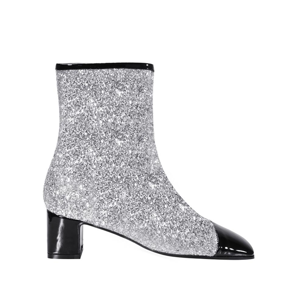 663e1cf38d16 Chanel Silver/Black 17k Milky Way Glitter Patent Cap Toe Ankle Boots/Booties