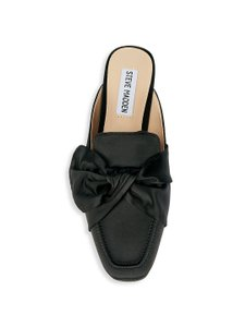 9042b5ae39a Steve Madden Satin Flats Satin Pointed Toe Pinted Toe Knot Detail Black  Mules