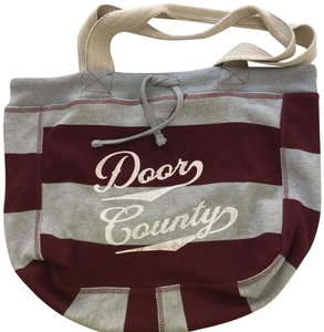 MV Sport Beachcomber Stripes Drawstring Maroon & Gray Beach Bag