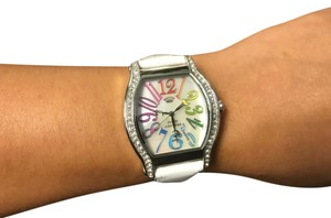 Juicy Couture NWT JUICY COUTURE White Dalton Tonneau Swarovski Leather Watch