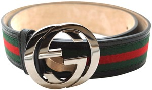 Gucci GG logo silver buckle canvas and leather Belt Size 90 36