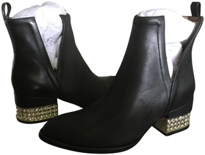 Jeffrey Campbell Leather Ankle Heel Black/Gold/Crystal Boots