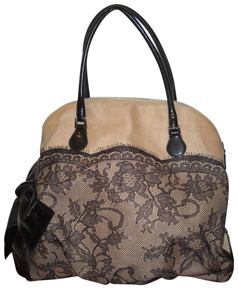 Canvas Valentino Bow Satchel Black Dome Natural Lace qrrwYxX