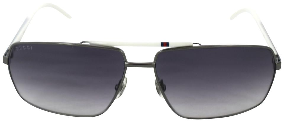 d03c6e1eb4a Gucci White 289659 Web Stripe Metal Sunglasses - Tradesy