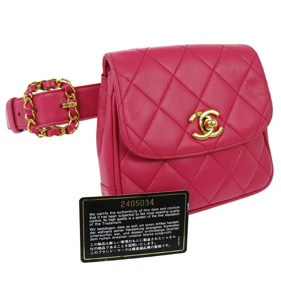 b47a2aa11 Chanel Waist Bum bag Excellent Condition Rare Quilted Fanny Pack Belt Pink Lambskin  Leather Clutch