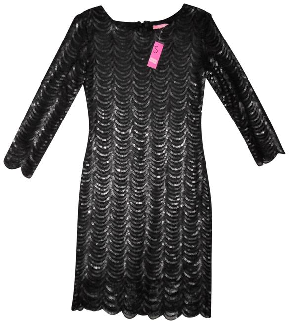 Item - Black Sequined Stretchy 3/4 Sleeves Bodycon Short Formal Dress Size 4 (S)