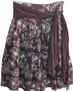 Connection 18 Embroidered Top Stitch Skirt brown