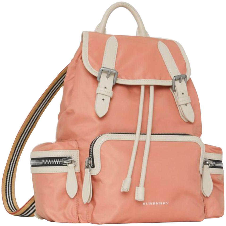 c9d37f03f21b Burberry London The Large Rucksack In Technical Nylon and Leather Powder  Pink Backpack