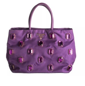 Prada Jewel Embellished Embroidery Crystals Satchel in Purple