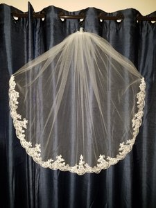 Maggie Sottero Ivory Medium Fingertip Scalloped Edge with Beads and Crystals Bridal Veil
