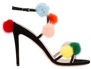 Fendi Pom Poms Suede Open Toe Made In Itally Ankle Strap black Sandals
