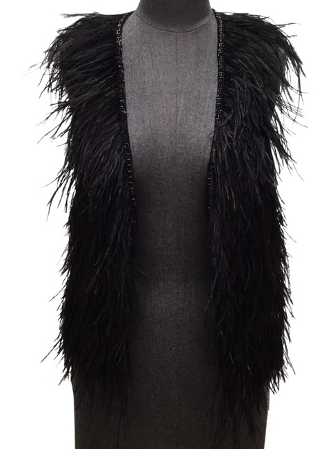 Theory Black Ostrich Feather Vest Size 8 (M) Theory Black Ostrich Feather Vest Size 8 (M) Image 1