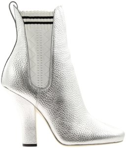 Fendi Sock Pull On Elasticized Silver Boots