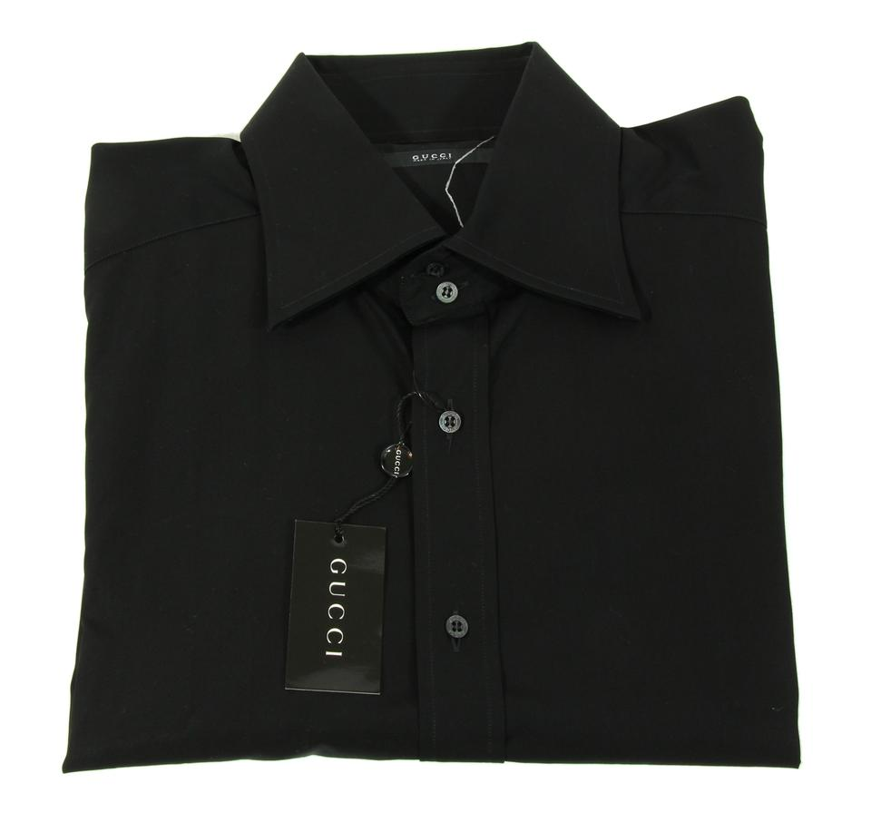 Gucci Black 145380 Mens Dyed Popelin Fitted Cotton Shirt 1743