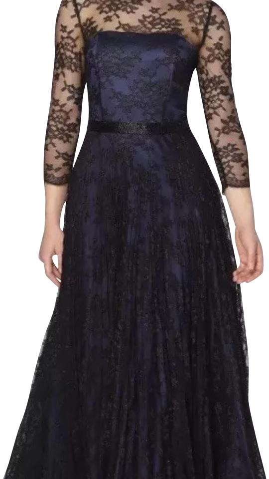 Tahari Navy Black Arthur S Levine Satin Floral Lace Gown Long Night Out Dress Size 4 S