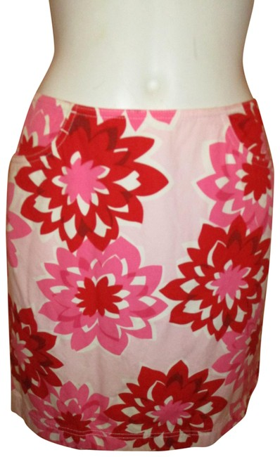 Item - Red Pink & White Print Cotton Skirt Size 2 (XS, 26)