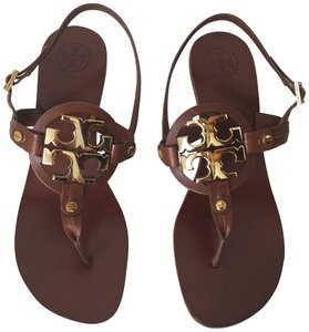 81b88360a4d7 Tory Burch Wooden Leather Logo Gold Hardware Brown Sandals