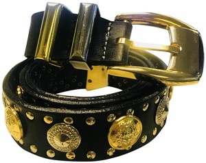 Versace GIANNI VERSACE black leather gold/silver tone studded belt size 32