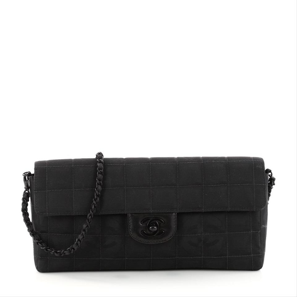 8a9e75d696aa Chanel Classic Flap East West Travel Line Quilted Black Nylon ...